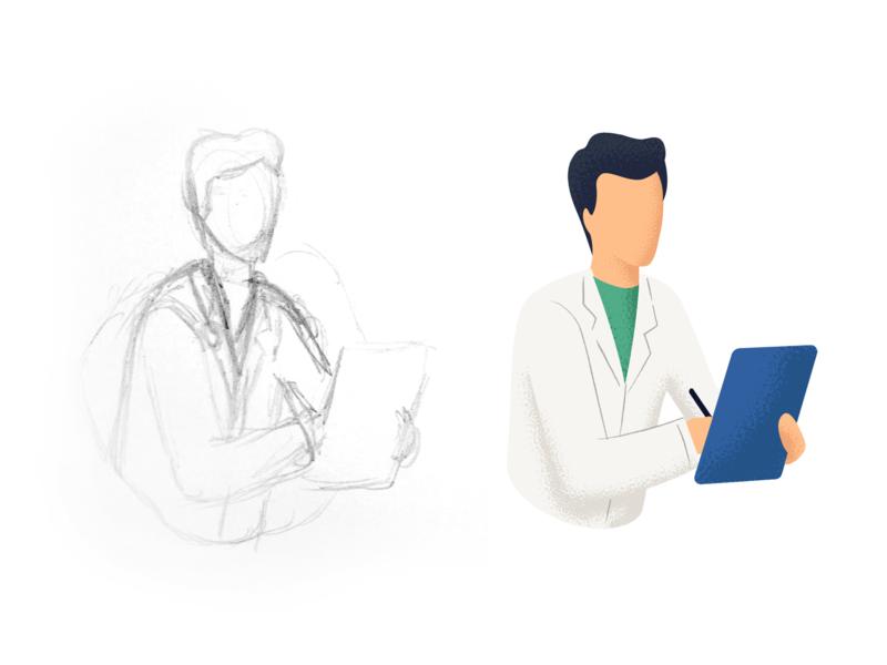 Doctor Illustration brushes illustrator consultant health medicine examination nurse medical healthcare doctor illustration nudds