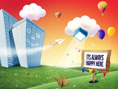 Happy Place photoshop happy clouds fun grass flats illustration nudds sign balloon smile face home page