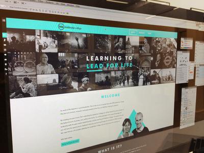 College Home nudds htb leadership banner collage full screen cyan nav bar side bar screenshot web design responsive