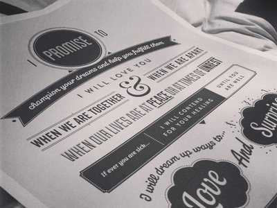 Our Vows  vows poster nudds print design wedding marriage poster design typographic poster typography