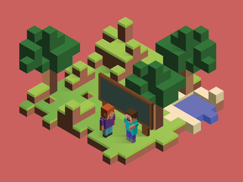 Minecraft Education Edition Parent's Guide Header isometric illustration minecraft isometric design isometric art illustration gaming