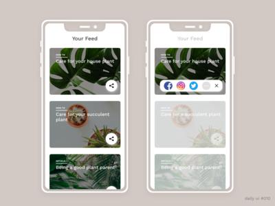 DailyUI #010 - Social Share mobile app design plants dailyui 010 dailyui