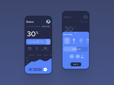 Water tracker concept timer counter tracking app tracks water mobile app mobile ux ui