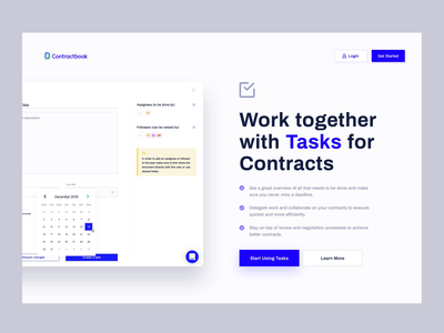 Contractbook - Tasks Page mobile tasks animation design contractbook layout landing page www website web ui