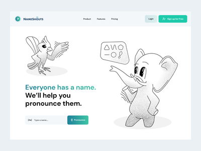 NameShouts - Homepage utopian futures animal kingdom culture elephant bird nameshouts design home page character layout landing page illustration www website web ui