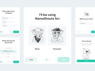 NameShouts - Onboarding elephant nameshouts interface onboarding ux character layout illustration www website web ui