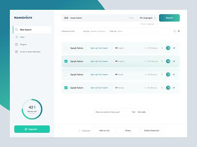 NameShouts - Application system design layout website web product product design ux app application ui