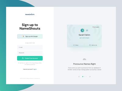 NameShouts - Sign-up interface app design animation www website web layout sign-up signup ux ui