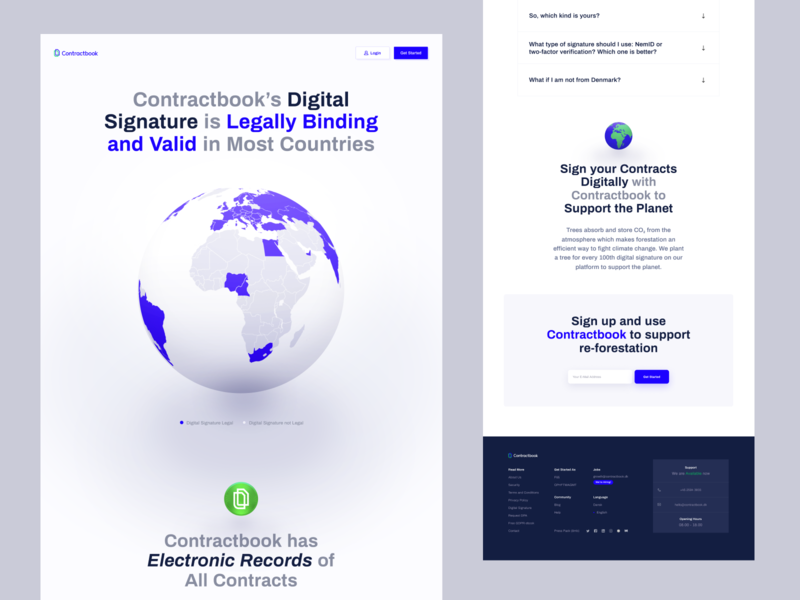 Contractbook - Digital Signature Page earth globe design contractbook layout web ui landing page www website