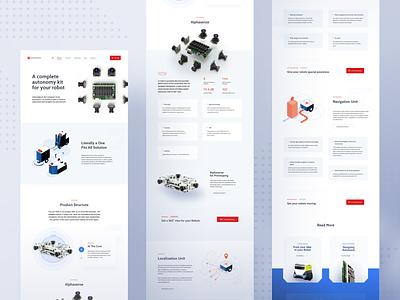 Sevensense - Products Page 🤖 webpage page design illustration robot sevensense branding ux landing page layout www website web ui