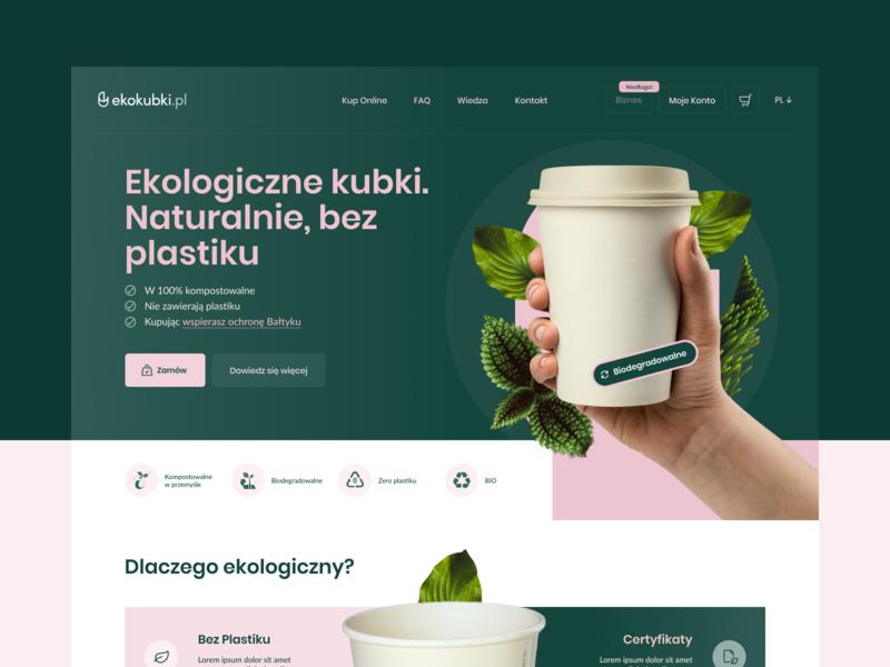 Ekokubki - Landing Page 🌿 ekokubki branding home page design ux landing page layout www website web ui