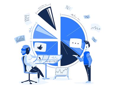 💸 Spending Management Illustration 💸 task graph money blue product character illustration