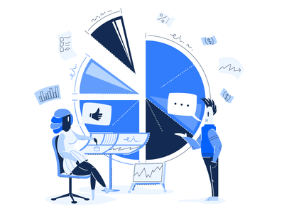 💸 Spending Management Illustration 💸 task graph money blue product character illustration