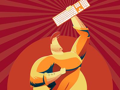 ⌨️Hackathon Illustration poster propaganda red hackathon keyboard illustration character