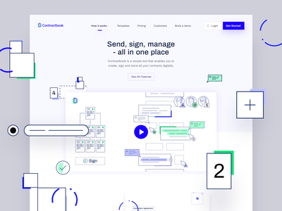 How it Works - Contractbook contractbook layout ui illustration www landing page website web