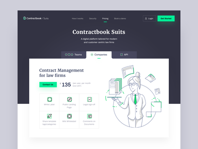 Contractbook Suits - Pricing layout contractbook character illustration landing page ui web website www
