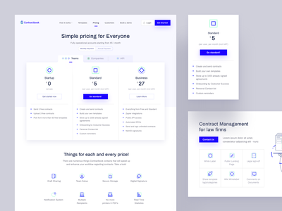 Contractbook Pricing contractbook ui layout web website landing page www
