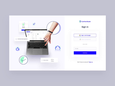 Sign in & Sign up - Contractbook blue interface ux after effects animation contractbook layout www illustration website web ui