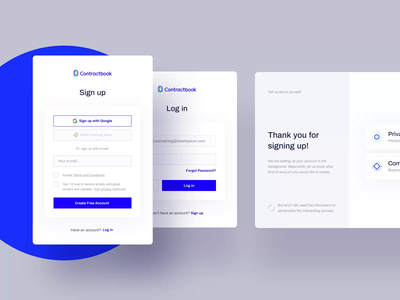 Sign up + Log in process - Contractbook motion app product design interaction interface ux animation contractbook layout www website web ui