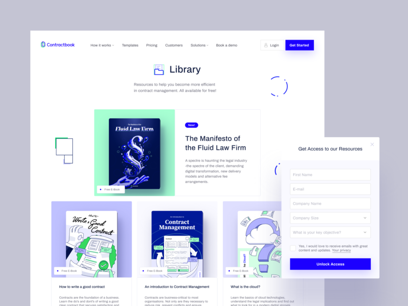 Library - Contractbook product design blue design interface contractbook layout landing page illustration www website web ui