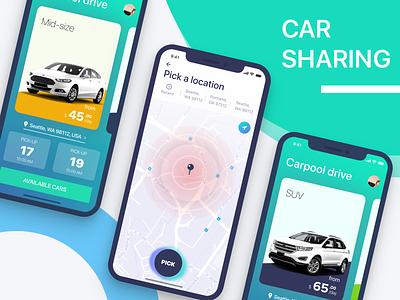 Carpool Drive rent car rent a car iphone x fresh ui car sharing ride rent map iphonex ios carpool car