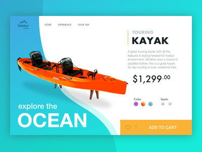 Kayak Store web design product page outdoor store website layout water canoe ux ui outdoor web kayak