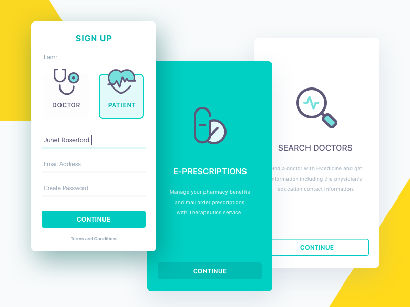 Patient sign up onboarding signup emedicine ehealth appointment telemedicine healthcare e-health