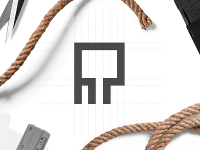 R Letter geometic rope letter r icon house building real estate design logo