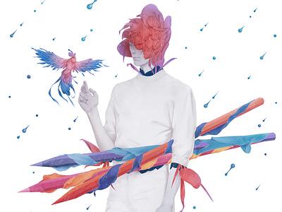 Flora wall wallart office dutch drops fashion painting rainbow rain paradise bird floral botanical mural illustration