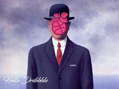 Hello Postcard painting poster magritte ghislain françois rené post first hello artwork