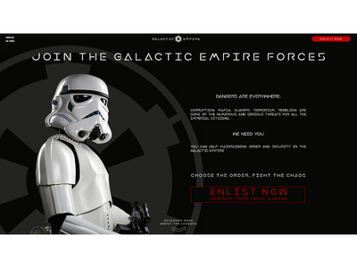 Daily UI #3 - Landing Page 003 ui stormtrooper star wars galactic empire dailyui
