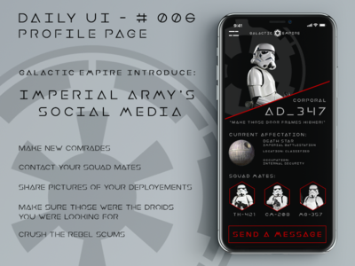 Daily UI #6 - Profile Page profile stormtrooper star wars galactic empire ui dailyui 006