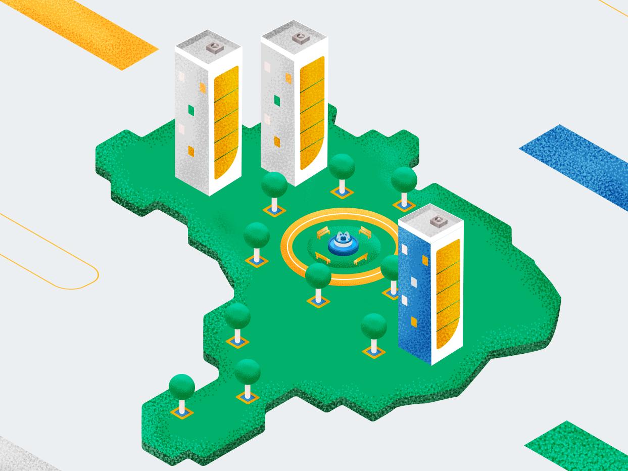 isometric map flat city isometric design design illistration abstact animation 2d
