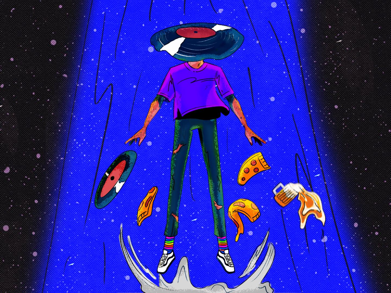 vinyl abduction beer pizza vinyl alien flat design illustration animation 2d motion character design