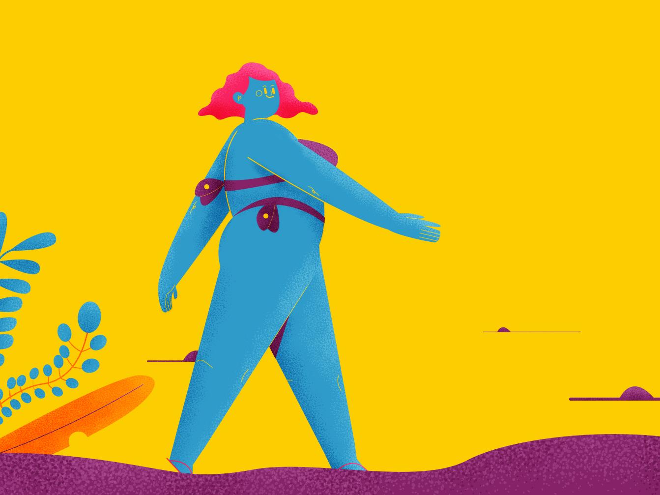 summer summer sun rise girl character vector beach brush character motion character concept abstact flat illustration design charactedesign animation art animation 2d