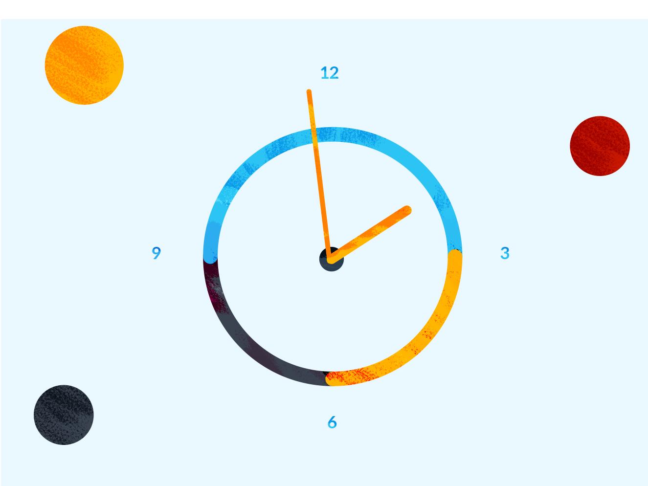 Clock 2d illustracion texture flat time watch design clock app clock
