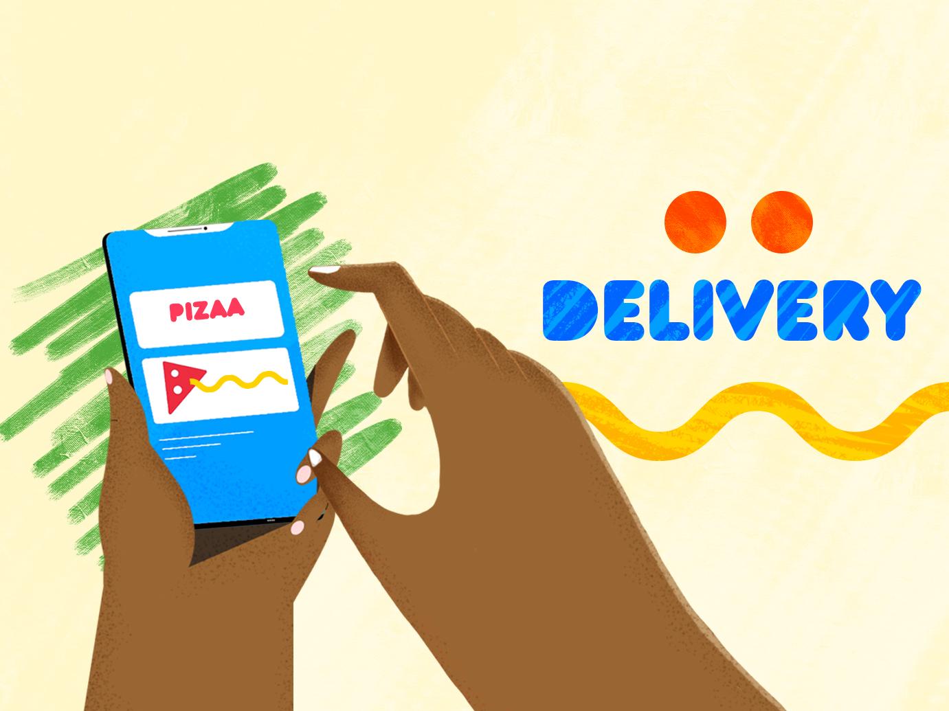 Delivery app abstact app  design motion animation art flat illustration brush charactedesign animation 2d design