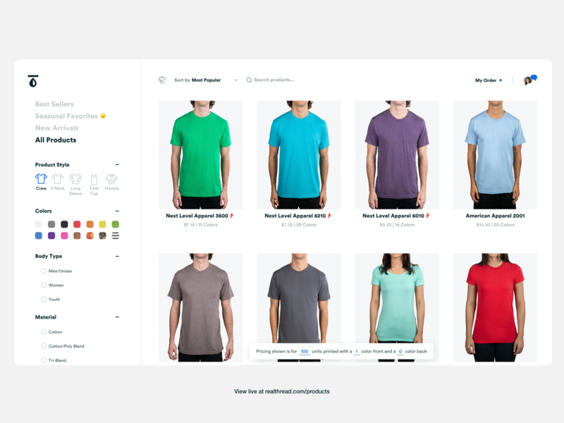 Real Thread Products (Live) user experience userinterface uidesign checkout form checkout page realthread tshirt gridwall product page ecommerce user interface design ui product design