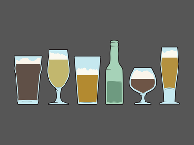 More Beer Glasses beer beer glasses illustration bottle snifter thistle