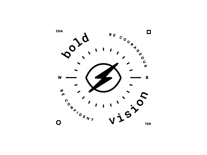 Bold Vision Lock Up eye logo lockup badge lightening bolt bold vision
