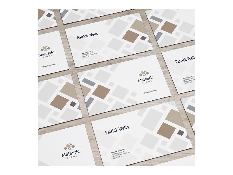 Majestic Stone Business Cards ashlar pattern stone business card branding logo