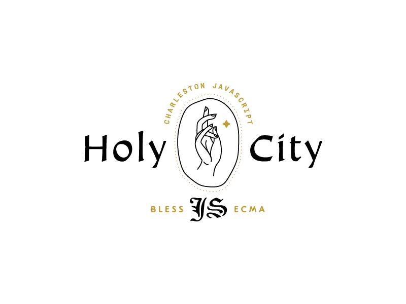 Holy City JS 02 brand logo lockup charleston illustration hands javascript holy city