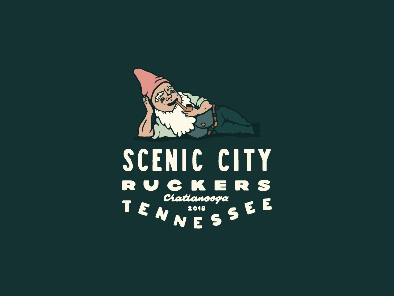 Scenic City Ruckers 01 chattanooga scenic city typography illustration gnome ruck logo badge