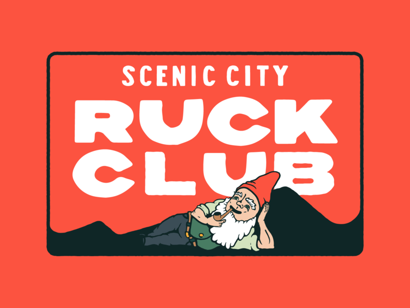Scenic City Ruckers Patch 01 goruck hand drawn type hand lettering ruck patch gnome brand design ruck club rucking ruck patch branding illustration typography type