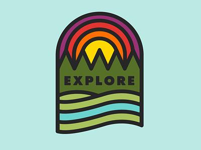 EXPLORE visual design explore national park typogaphy badge nature thicklines flatdesign vector illustration