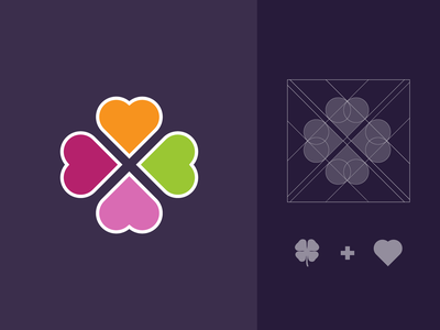 CLOVER heart logo four leaf clover heart colorful thicklines illustration flat design vector branding logo design logo