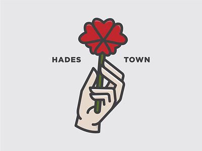 HADESTOWN flat illustration heart musical flower hand hades hadestown thicklines typography design flatdesign vector illustration