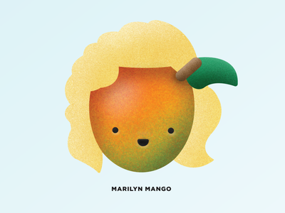 MARILYN MANGO food character fruit mango marilyn monroe texture painting procreate drawing vector illustration
