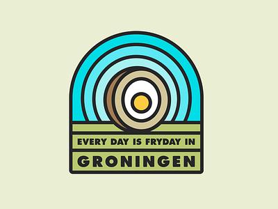 FRYDAY typography icon egg eggball eierbal fryday groningen thicklines badge sticker vector illustration