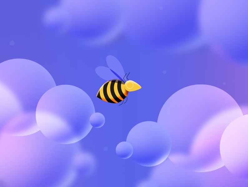 Busy Bee illustration insect purple jagthund busy bee bee fly bee flying bee cloud
